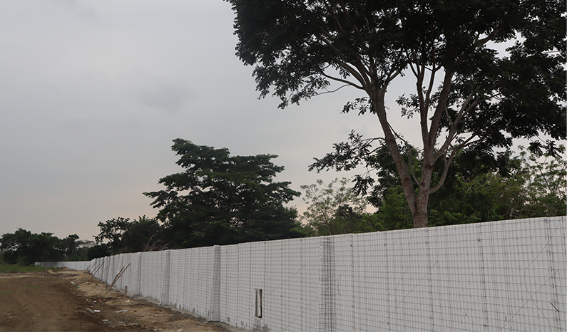 February 2021 - Initial phase of construction of the perimeter wall